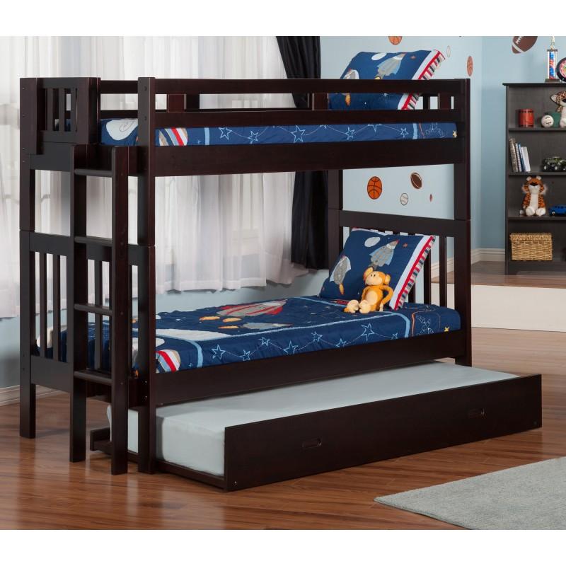 bedz king bunk bed full over full mission style honey